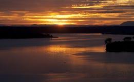 Восход солнца над каналом Kazinga вышесказанного Уганда стоковое фото