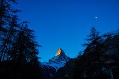 Восход солнца на Маттерхорне Mountian Стоковая Фотография