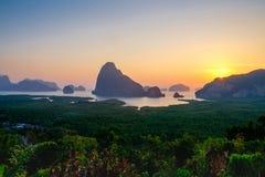 Восход солнца на на Samet Nangshe Стоковые Изображения RF