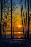 Восход солнца на озере в Финляндии Стоковые Изображения