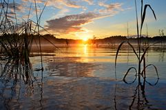 Восход солнца на озере, Стоковые Изображения