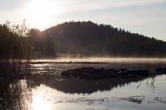Восход солнца над озером в тумане Стоковые Изображения RF