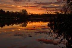 Восход солнца над озером в Шропшире Великобритании Стоковое Фото