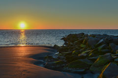 Восход солнца на острове Sullivan, Южной Каролине Стоковое фото RF