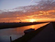 Восход солнца над парниками в Голландии Стоковое Изображение