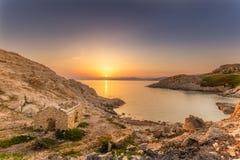 Восход солнца на побудке Ile в Корсике Стоковая Фотография RF