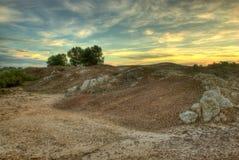 Восход солнца на поле Стоковые Изображения