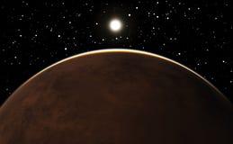 Восход солнца над планетой Марсом Стоковые Фото