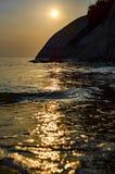 Восход солнца на пляже в Таиланде Стоковые Изображения RF