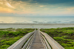 Восход солнца на пляже, порт Aransas Техас Стоковое Изображение RF