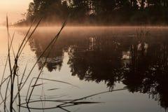 Восход солнца на реке в утре России Стоковая Фотография RF