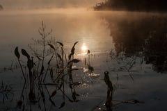 Восход солнца на реке в утре России Стоковое Изображение RF