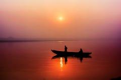 Восход солнца на реке Ganga Стоковая Фотография RF