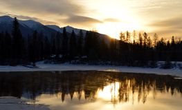 Восход солнца над рекой лебедя Стоковая Фотография