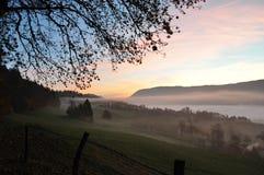 Восход солнца на тумане утра стоковая фотография rf