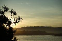 Восход солнца на туманный день стоковое фото rf