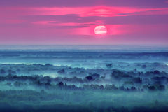 Восход солнца над туманными холмами стоковое фото rf