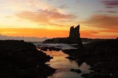 Восход солнца на утесах собора, Kiama опускает Австралию стоковое фото