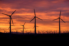 Восход солнца на ферме ветрянки Стоковое Изображение RF