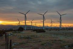 Восход солнца на ферме ветрянки Стоковые Изображения RF