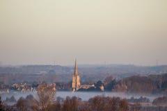Восход солнца над церковью Lechlade Стоковые Фотографии RF