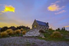 Восход солнца на церков хорошего Shepard, Новая Зеландия Стоковая Фотография RF
