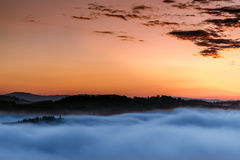 Восход солнца над d'Orcia Val Стоковые Фото
