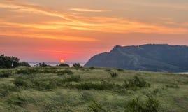 Восход солнца над Molodetskiy Kurgan как увидено от держателя Lepyoshka Стоковое фото RF