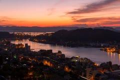 Восход солнца над Onomichi в Японии Стоковые Изображения