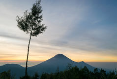 Восход солнца на Sikunir Dieng стоковая фотография
