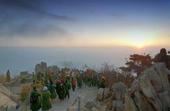 Восход солнца на Taishan стоковая фотография