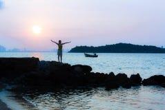 Восход солнца на @Thailand Larn Koh Стоковые Фото