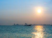 Восход солнца на @Thailand Larn Koh Стоковая Фотография
