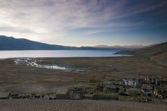 Восход солнца на Tso Moriri озера, Ladakh, Индии Стоковые Изображения RF