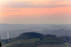 Восход солнца над tuscanian холмами Стоковое фото RF