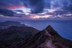 Восход солнца Оаху на кратере Стоковая Фотография RF