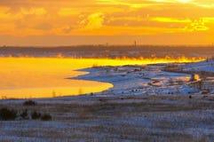 Восход солнца озера Grossraeschen в зиме Стоковое Изображение