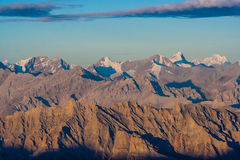 Восход солнца от взгляда Stok Kangri - Magnificient к Гималаям Стоковая Фотография