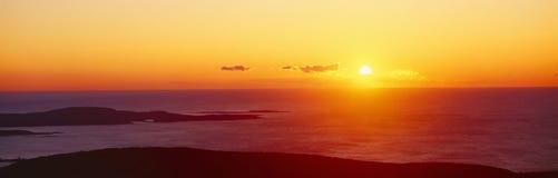 Восход солнца от горы Кадиллака, национального парка Acadia, Мейна Стоковое Изображение RF