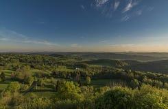 Восход солнца от замка Tolstejn в горах Luzicke Стоковая Фотография RF