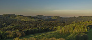 Восход солнца от замка Tolstejn в горах Luzicke Стоковое фото RF