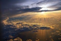 Восход солнца от самолета Стоковое Изображение