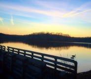 Восход солнца пристани зимы Стоковая Фотография RF