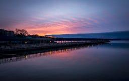 Восход солнца пристани озера Skaneateles Стоковое Фото