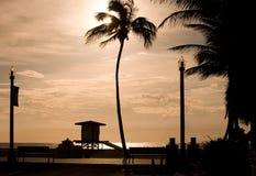 Восход солнца пляжа Голливуда Стоковые Изображения RF