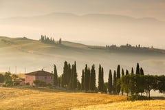 восход солнца Тоскана Италии Стоковые Фото