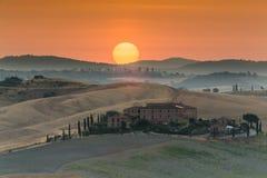 восход солнца Тоскана Стоковое Изображение
