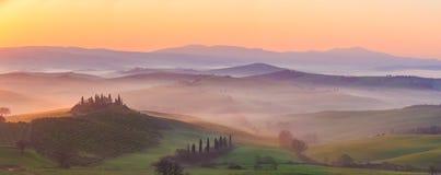 восход солнца Тоскана Стоковые Фотографии RF