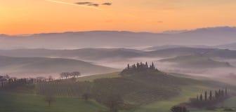 восход солнца Тоскана Стоковая Фотография