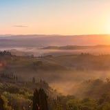 восход солнца Тоскана Стоковое Изображение RF